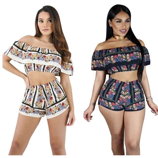 211db7d8b 2017 das Mulheres Sexy Shorts Conjuntos Roupas Casuais Impressão Floral  Playsuit Jumpsuit Bodysuit Cortar Top Corpo
