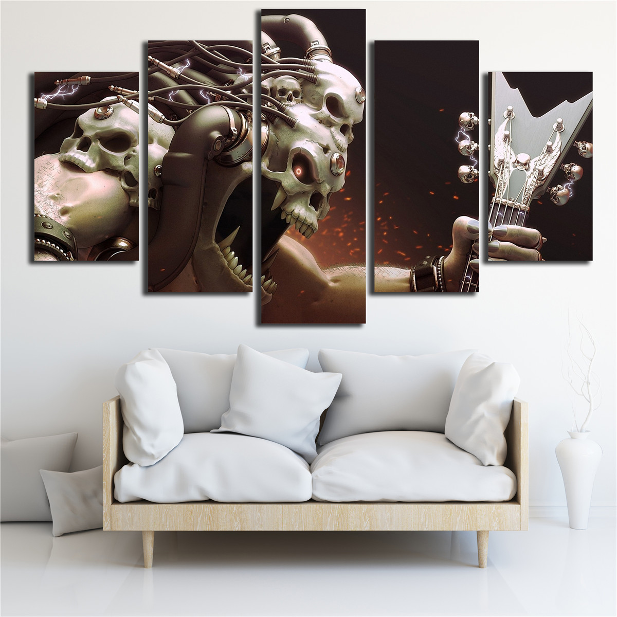 Posters Wall Art Canvas Prints Pictures 5 Pieces Skull Rock Music ...