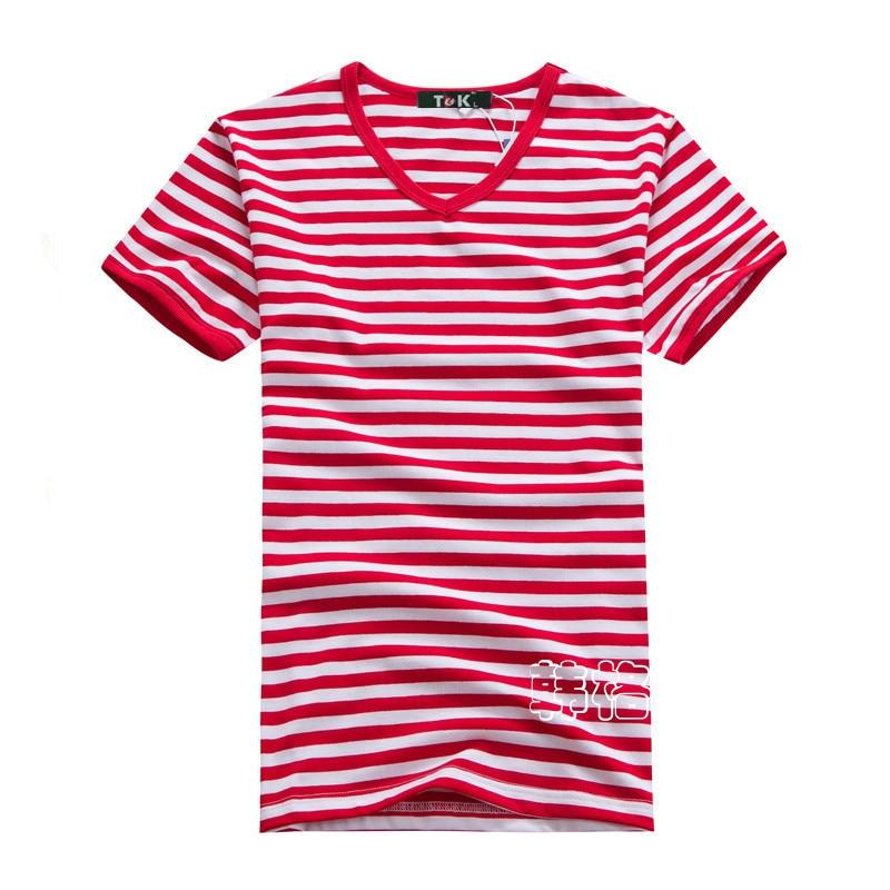 Penghantaran percuma ditambah saiz borong Fesyen jalur T-Shirt Lelaki - Pakaian lelaki - Foto 4