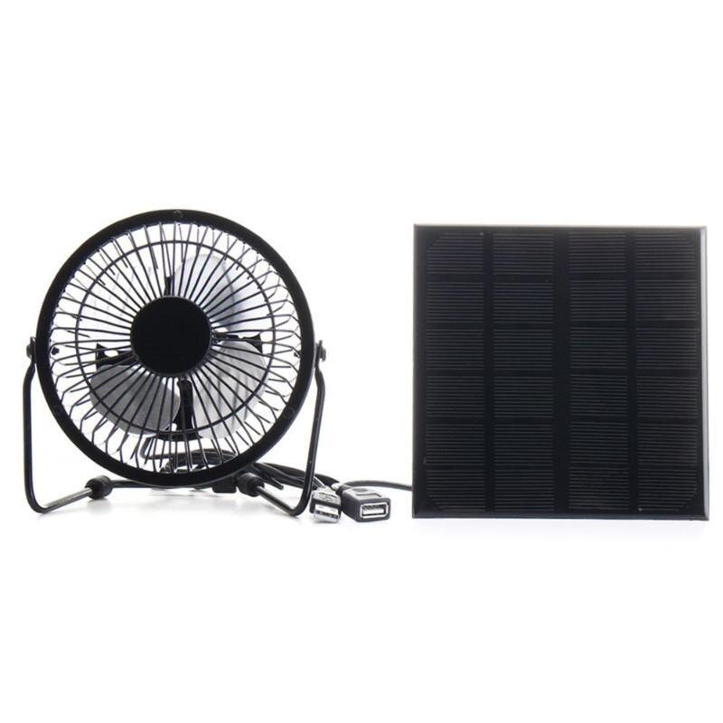 3W 6V Mini USB Solar Panel Iron Fan 4 Inch Cooling Ventilation Fan Charge Phone font