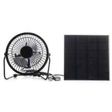 3W 6V Mini USB Solar Panel Iron Fan 4 Inch Cooling Ventilation Fan Charge Phone Powerbank MP3 Electronic Product Office Home