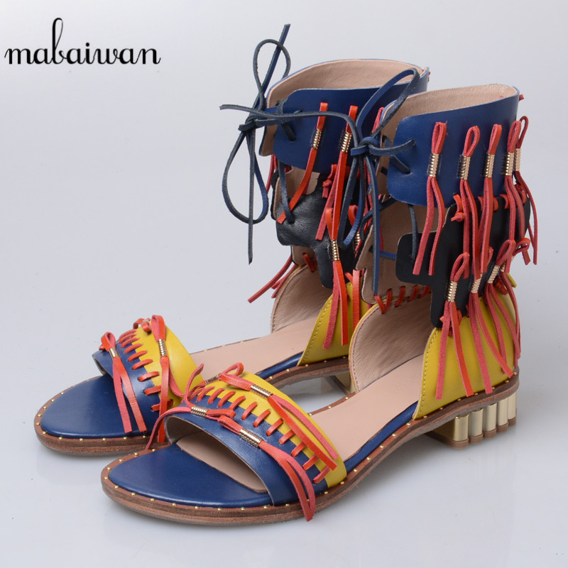 Mabaiwan New Women Casual Shoes Summer Sandals Blue Genuine Leather Shoes Woman Fringed Lace Up Gladiator Sandal Flats Feminino mabaiwan women shoes genuine leather summer sandals casual platform wedge shoes woman rivets gladiator wedges breathable sandal