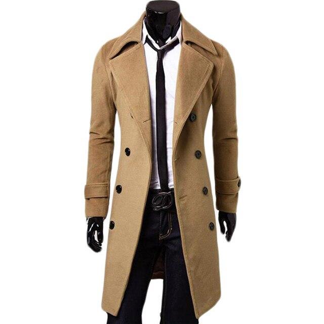 Double Breasted X-Long Jacket Woolen Blends Windbreaker Palto Jaqueta Masculina Men Winter Coat Hombre Mens Jackets and Coats