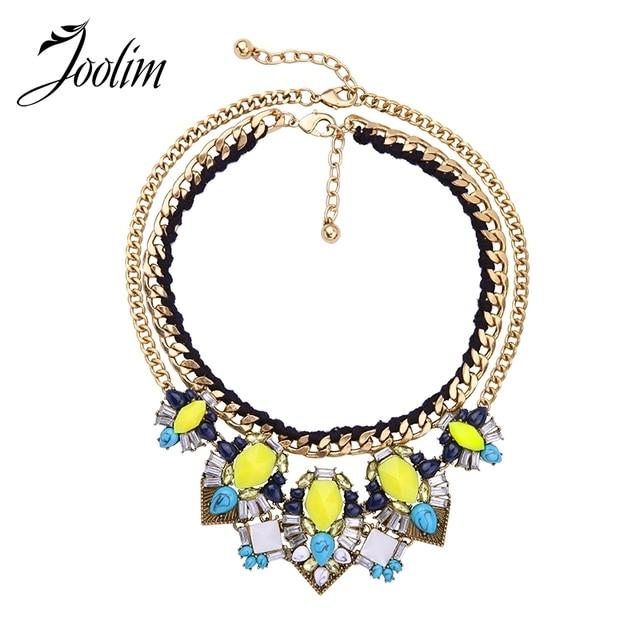 JOOLIM Jewelry Wholesale/ Neon Yellow 2 Row Removeable Bib Necklace Statement Convertible Necklace Jewelry free shipping