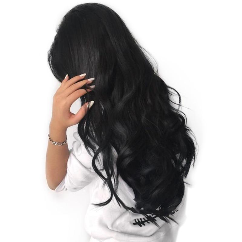 Синтетические волосы на кружеве человеческих волос парики для Для женщин натуральный черный Pre сорвал 250% плотность объемная волна бразильс...