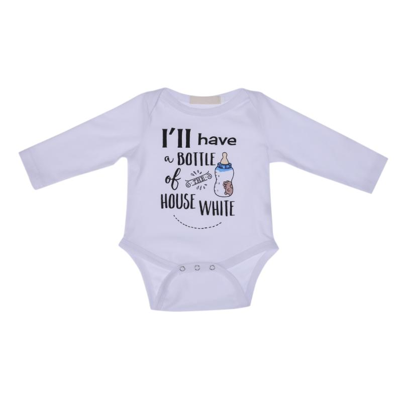 White Overalls for Children Baby Jumpsuit Feeding Bottle Printed Newborn Romper Long Sleeve Boys Girls Cute Clothes