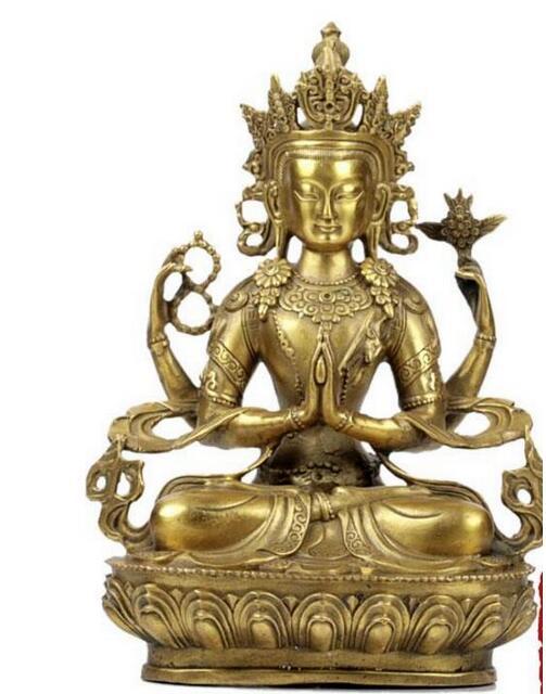 SHUN The four arm Guanyin Buddha copper ornaments Home Furnishing crafts Home Furnishing decoration