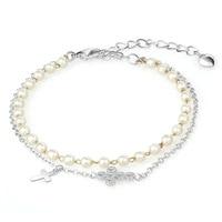 Cdyle Fashion Bracelets Women Bracelet Bangle Austrian Rhinestone Paved Simulated Pearl Trendy Elegant Jewelry Lady Gift