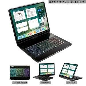 Для 2018 ipad pro 12,9 дюйма 3rd Gen корпус клавиатуры, bluetooth, чехол для клавиатуры, радуга, подсветка клавиш 360 Вращающийся 180 flpi