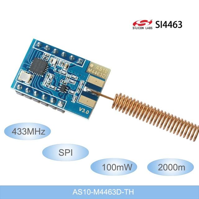 433 mhz אלחוטי נתונים משדר מודול 2000-מטר ארוך מרחק SI4463 100 mw אלחוטי מודולים 433 m SPI RF מודול אנטנת האביב