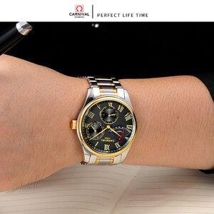 Image 5 - Seiko תנועה אוטומטית קרנבל למעלה מותג יוקרה גברים מכאני שעון relogio masculino שעון נירוסטה רצועת גברים שעון