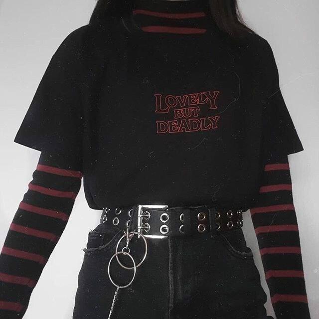 kuakuayu HJN Women Enjoythespirit Lovely But Deadly Saying Tshirt Black Summer Tops Fashion TShirt