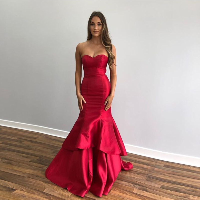 Elegant Mermaid   Prom     Dresses   Sweetheart Tiered Skirt Floor Length Women Formal Party   Dress   Burgundy Special Occasion   Prom   Gowns