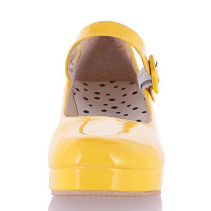 Altos Tamaño Charol Señora Mujeres 34 Dulce pink Black Lolita Zapatos yellow Tacones Bombas Cosplay Cuña Más 43 Xingdeng white Stxq4w7Fw