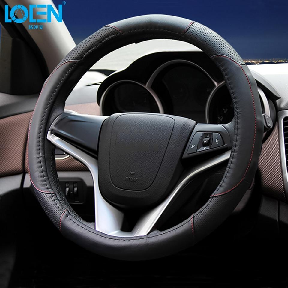 Cubierta de volante de cuero LOEN para toyota bmw 0 chevrolet honda - Accesorios de interior de coche - foto 3