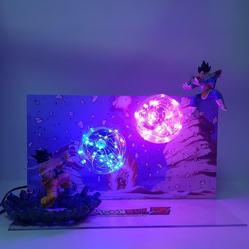 Dragon Ball Lampe Fils Goku Kamehameha VS Vegeta Galick PISTOLET Led Night Lights Lampara Dragon Ball Z Super Saiyan DBZ lampe de Table