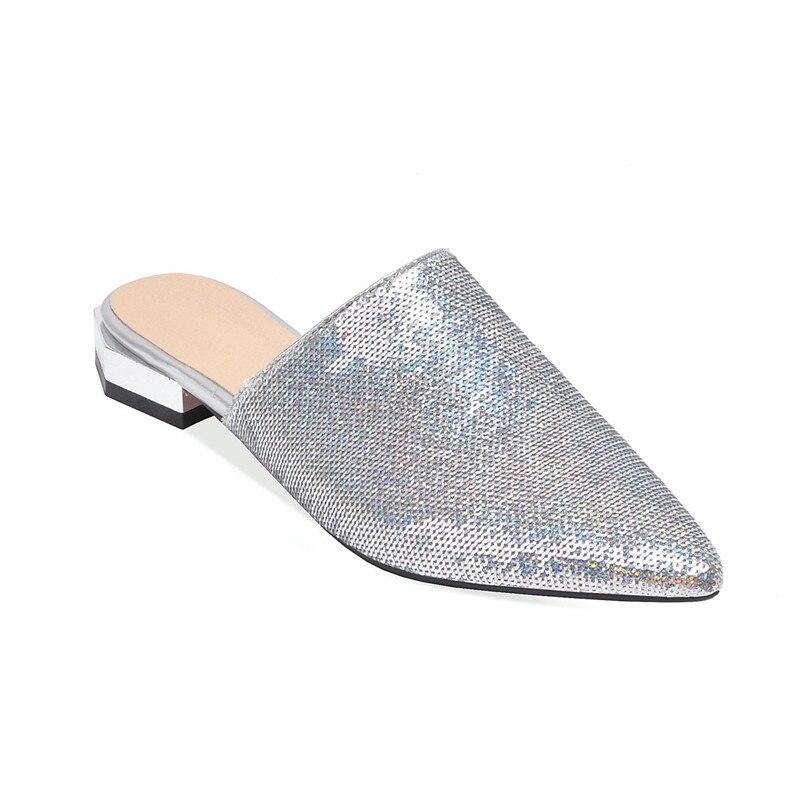 Partie Chaussures Pour 2019 Bling Femmes argent or Talon Bout Quotidiennes Glitter Mode Pompes Noir Ymechic Pointu Faible Grande Diapositives Dames Taille Mules D'été QCEdBWrxoe