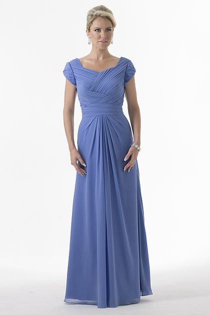 Cecelle 2019 Blue Long Modest Ruched Chiffon   Bridesmaid     Dresses   Cap Sleeves Floor Length Formal Women Wedding Party   Dresses