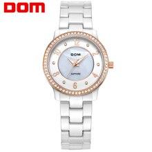 DOM mujeres estilo marca de lujo impermeable de los relojes de cuarzo de cerámica reloj de la enfermera reloj hombre marca de lujo T-558