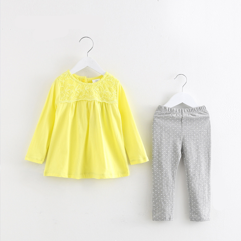Girls Clothing Sets Lace Flower Shirts + Dot Pants Baby Girl Clothing Set Long Sleeve T-shirt Cotton Trousers Kids Clothes Pink
