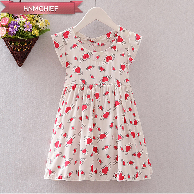 44ad8c6294e 2017 New Girl Summer Dress Cute Short-Sleeved Love Flowers Baby Girl Cotton  Casual Kid Clothing Vestido Infantil Princess Dress