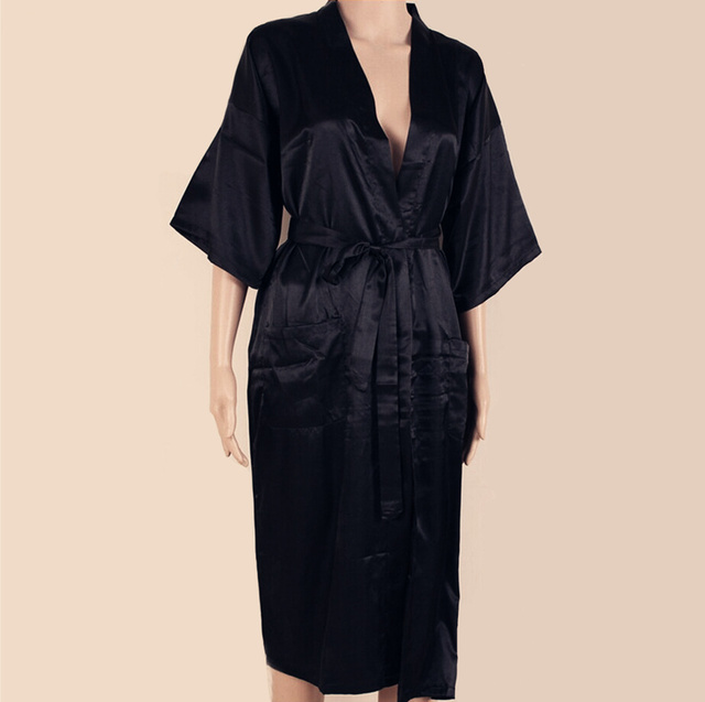 Sexy New Black Men Silk Long Kimono Robe Gown Solid Color Sleepwear Summer Casual Nightgown Plus Size S M L XL XXL XXXL S0026