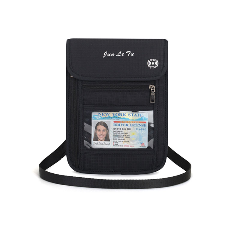 Nylon RFID Anti-Theft Passport Holder Neck Bag Travel Waterproof Phone Wallet ID Card Holder Multifunction Pouch For Men Women