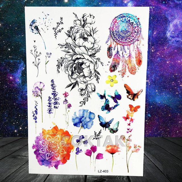 Watercolor Lavender Reed Morning Glory Flower Tattoos Temporary Women Sexy Custom Tattoo Stickers Flash Fake Girls Tato Ankle 3