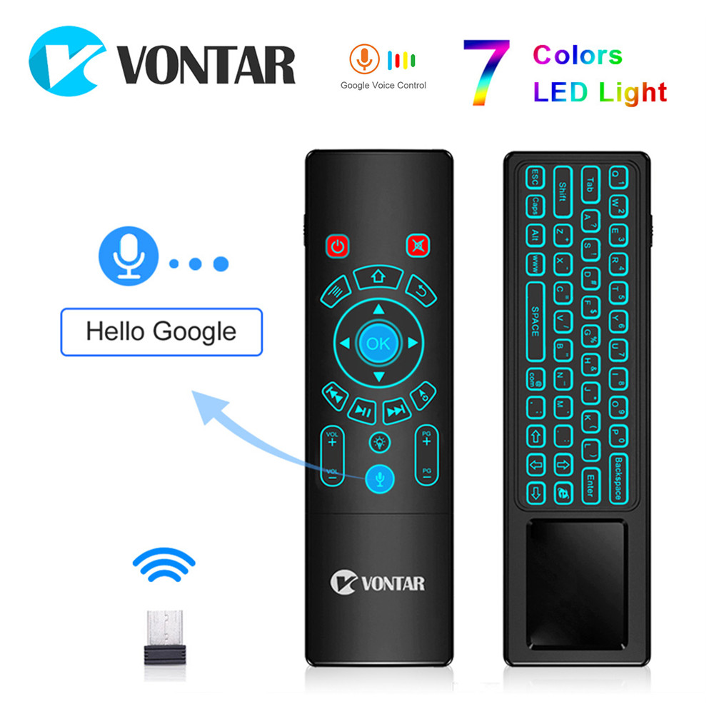 2.4G mini Wireless keyboard Voice Remote Control Fly Air Mouse T6 <font><b>plus</b></font> <font><b>T8</b></font> backlit Gyro touchpad Game Android TV Box X96 mini Max image