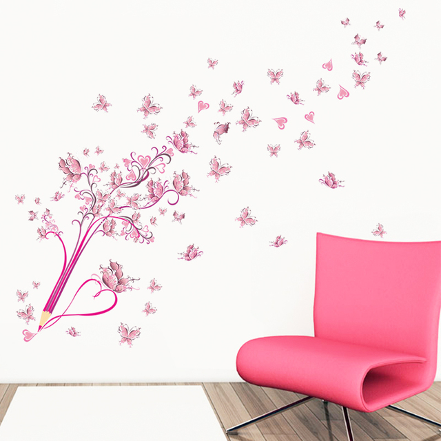 Flying Pink Butterfly Flower Blossom Pencil Tree Wall Sticker