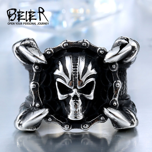 Beier 2017 Động Cơ Mới Biker Chain Skull Nhẫn 316L STAINLESS gỉ Vòng Trang Sức thép Phụ Nữ Mens Móng Vuốt Sắc Nhọn Biker Skull Nhẫn BR8-448