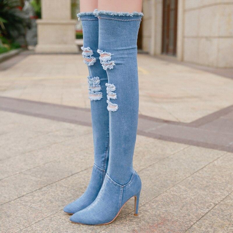Ho Heave Kneeboots Das Mulheres Novo Estilo de Moda Jeans Rasgado Styetch Confortável Botas de Tecido Mulheres Sapatos Femininos Sapatos Casuais Respirável