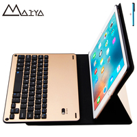 Case For IPad 2017 Tablet Ultra Thin Flip Stand Removable Wireless Bluetooth Aluminum Keyboard PU Leather