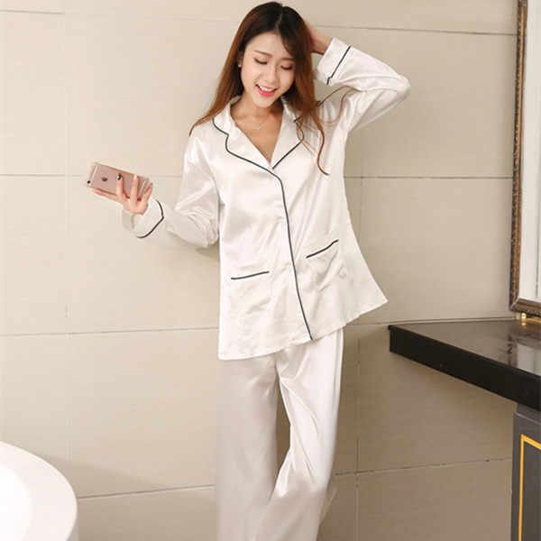 Новинка 2017 года; брендовые атласная пижама Для женщин с длинными рукавами пижамный комплект Пижама Femme Демисезонный Женская пижама, домашняя одежда, белый/синий E1210