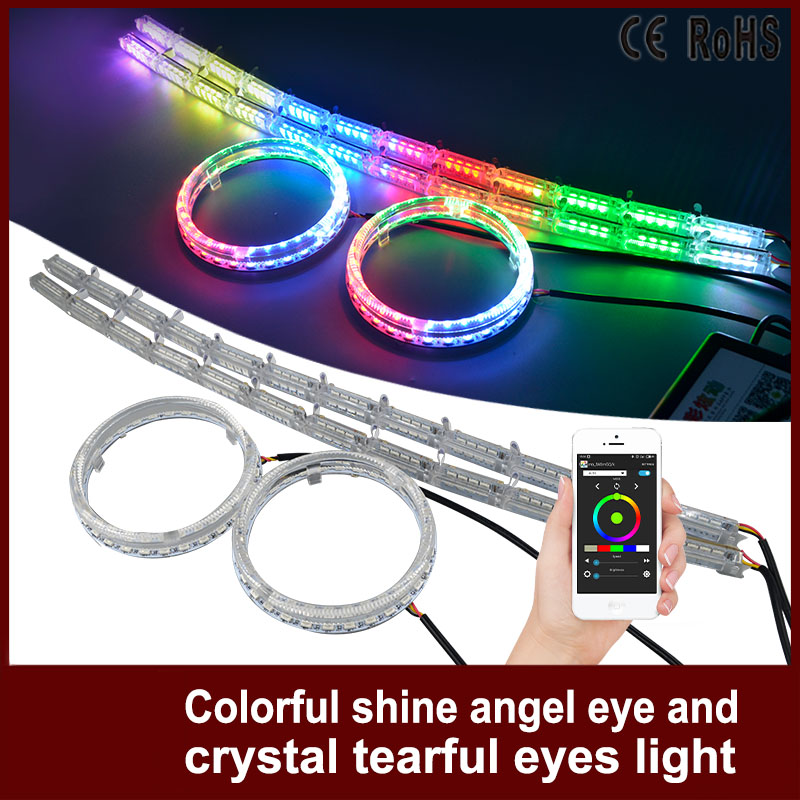 1Set Car Headlight RGB Angel Eyes  Auto APP Control DRL Halo Ring With Crystal Angel Tear Eye Motocycle For Volkswagen VW golf 4 simulation mini golf course display toy set with golf club ball flag