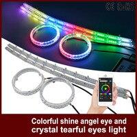 1Set Car Headlight RGB Angel Eyes Auto APP Control DRL Halo Ring With Crystal Angel Tear
