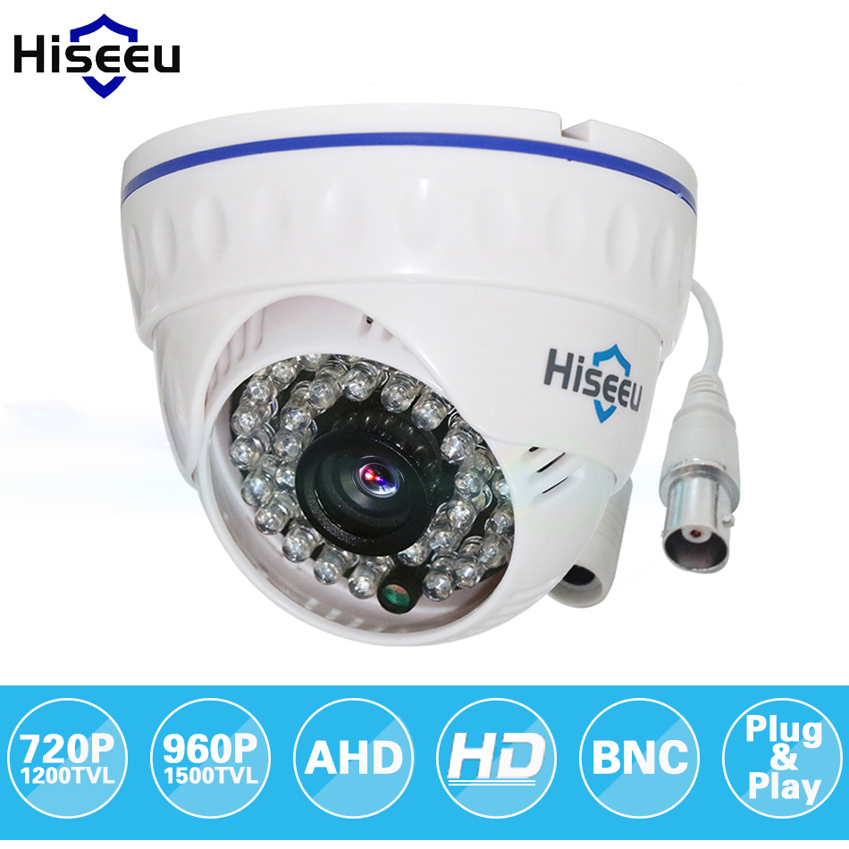 Hiseeu AHDM 720P IR Mini Dome Analog AHD CCTV Camera indoor IR CUT Night Vision HD Security Cam Surveillance Camera 1MP zilnk security analog hd 960p ahd camera night vision indoor ir 20m 3 6mm lens ir cut filter dome cctv camera