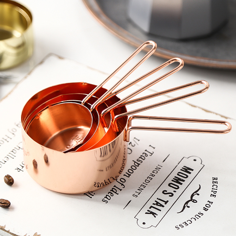 4Pcs Measuring Spoons Stainless Steel Measuring Cup Set Rose Gold Measure Cup Kitchen Measuring Tools Liquid Powder Coffee Scoop