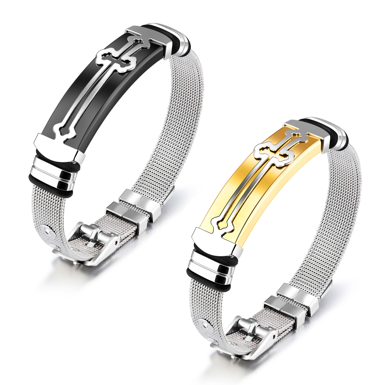 Stainless steel bracelet gold women  bracelet cross bangle for men or women black and gold bangles