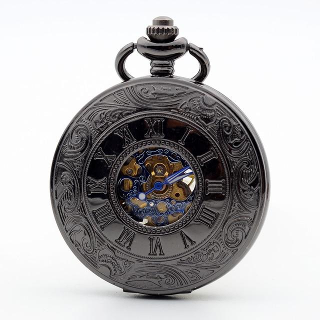 3339903b355 Antique Oco Preto Engrenagens Azuis Algarismos Romanos Esqueleto Vento Mão  Mecânica Pocket Watch Cadeia Fob Relógio