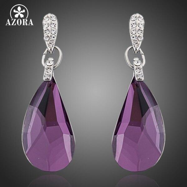 5ab37e274 AZORA White Gold Color Purple Stellux Austrian Crystal Drop Earring TE0091