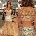 2015 Mais Novo Da Sereia V Neck Lantejoula Champagne Prom Vestidos Com Frisada de Cristal Rhinestone Vestido Abendkleider Vestido de Festa À Noite