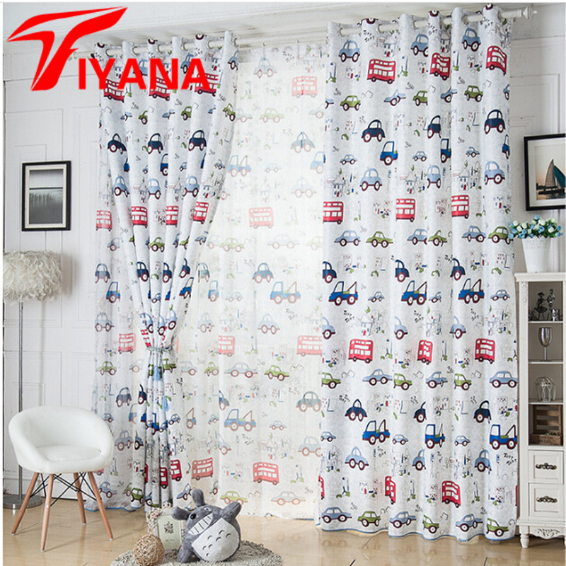 Cartoon Car Curtains Window Treatments Sheer Curtains For Kids ...