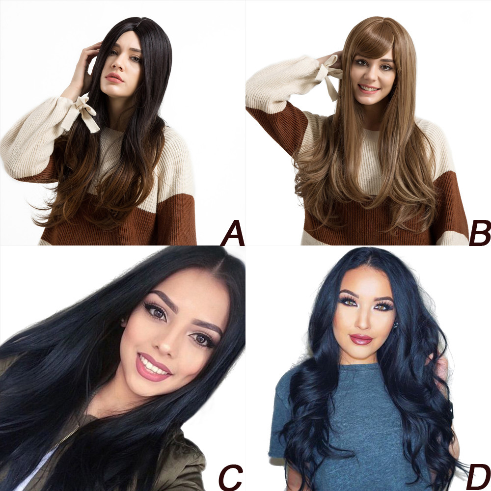 Factory price 1pc Medium Length Body Natural Low Temperature Synthetic Wigs Hair For Black/Brown Party Wigs Stand May11 HW