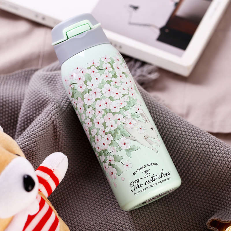 380/450ML Double Wall Sport Tea Coffee Thermos Hot water bottle 304 Stainless Steel Vacuum Flask mug with straw insulated cup