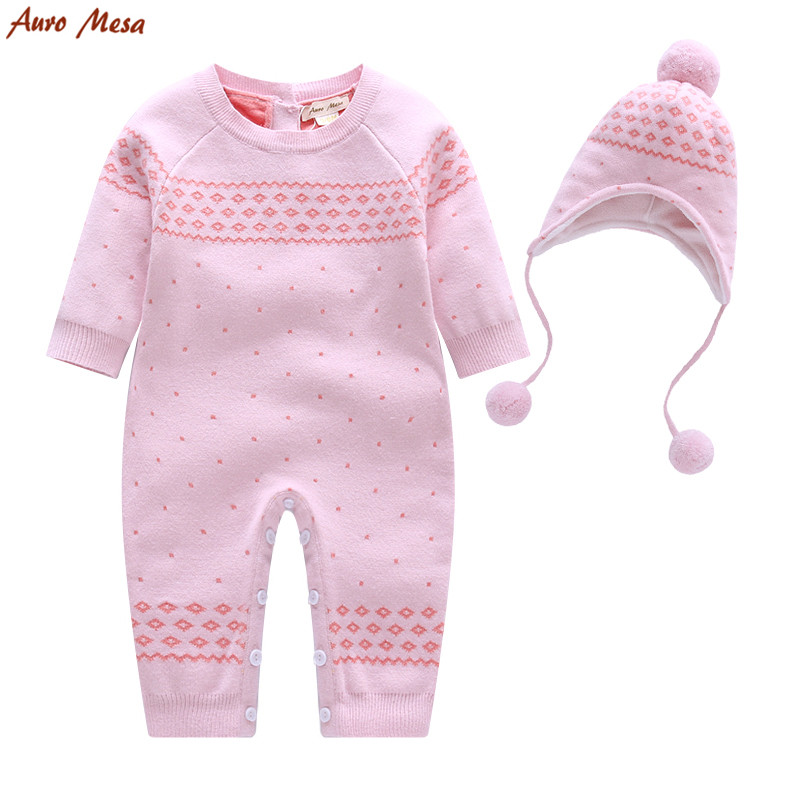New 2016 Cute Winter Baby Jumpsuit Pink Knitted Romper With Hat Thick Warm Christmas Baby Girl Clothes Coverall