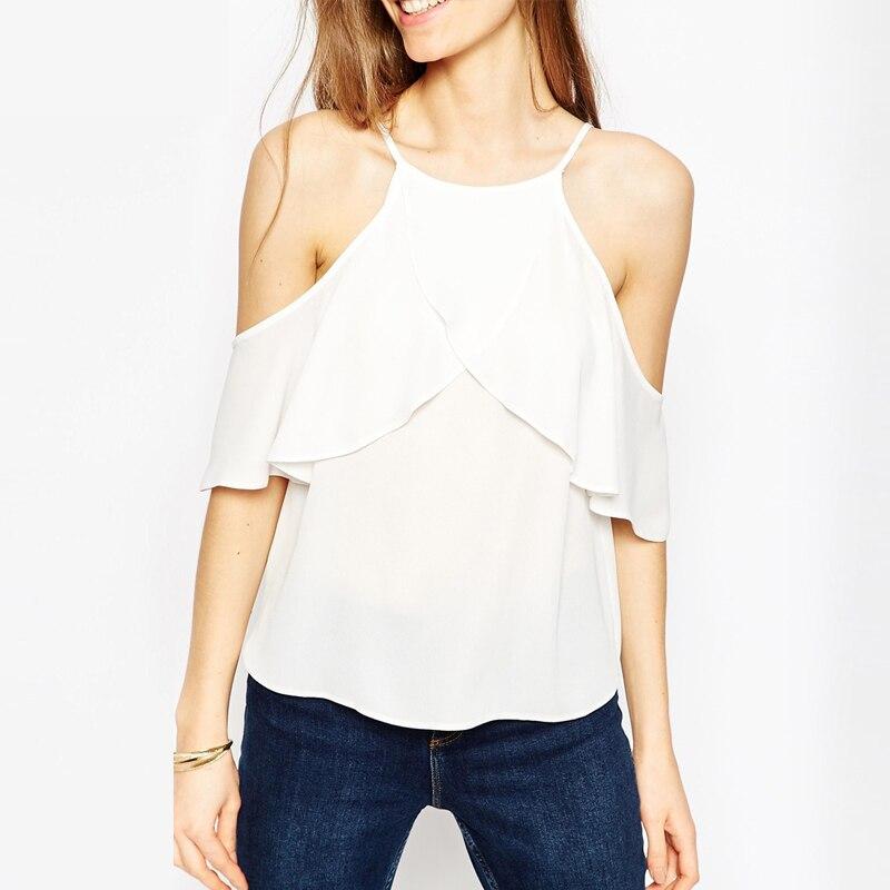 b34e6a9c7 2017 Nova Mulheres Europeia ea América Moda Blusas   Camisas plus Size Fora  Do Ombro Solto Chiffon Sun-top Tops de Verão para mulheres