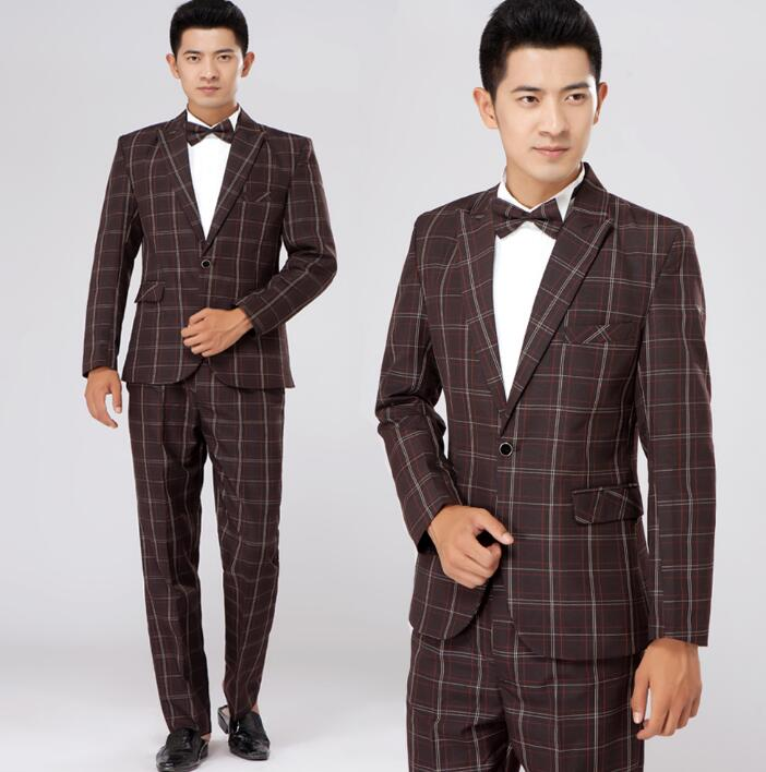 2019 new arrival stage slim men plaid suit set with pants mens suits wedding groom formal dress suit + pant green brown S 2XL