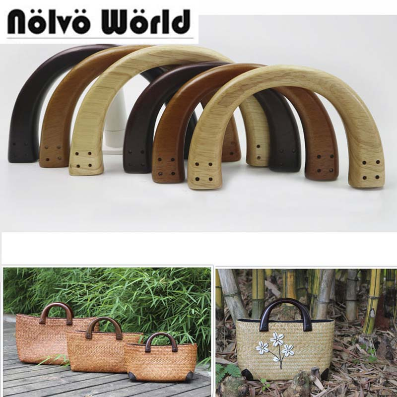 5 Pair=10 Pieces,3 Colors 19X11cm 4 Holes Each Side,Wood Bag Handles,Sewing Handmade Women Bag Purse Handle