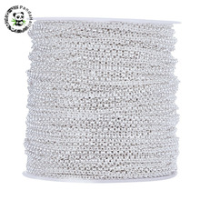 PANDAHALL 100M/roll Iron Rolo Chains For Jewelry Making Unwelded Lead Free Silver Color with Spool about 2*1mm DIY Bracelets